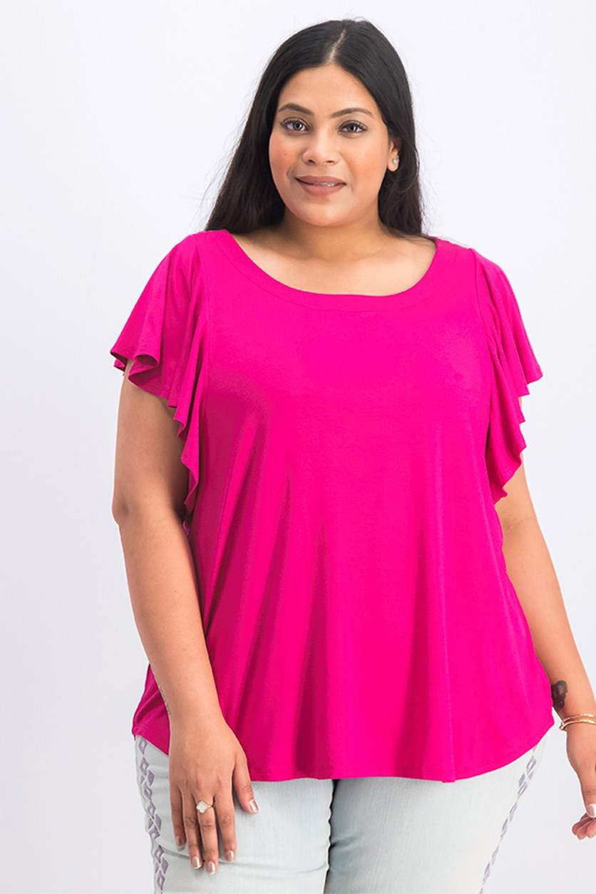 Women's Plus Size Flounce Sleeve Top, Pink