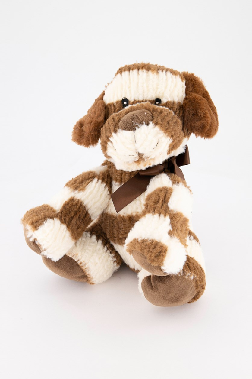 Striped Sweater Dog Plush with Rattle, Brown