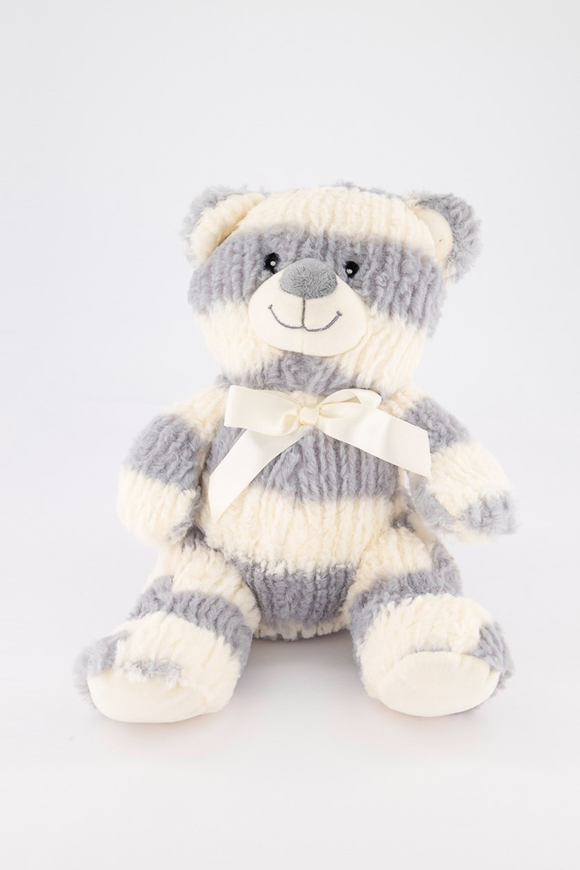 Striped Sweater Bear Plush W/Rattle, Grey