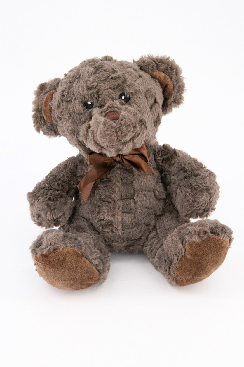 Bear Plush With Rattle, Brown/Grey