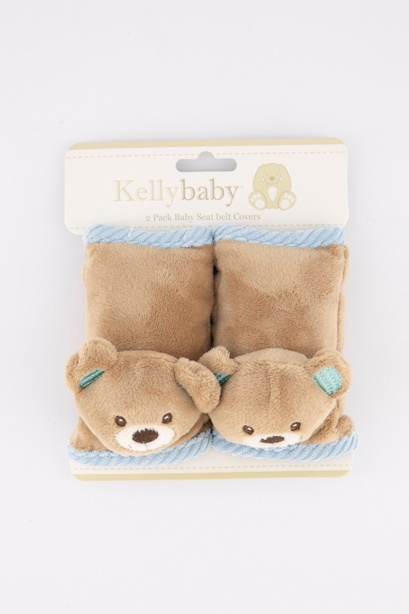 2 Pack Baby Seatbelt Cover Blue Bear, Brown