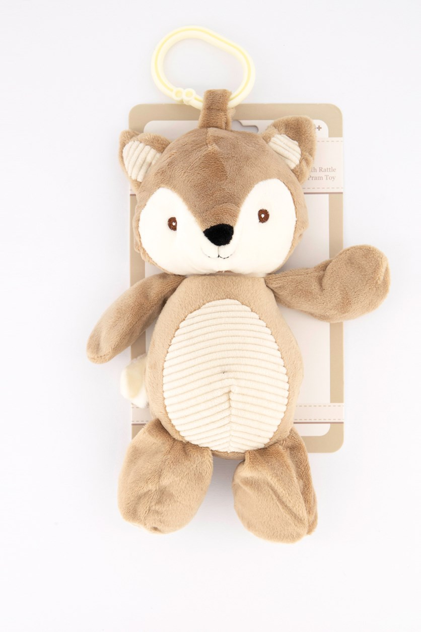 Plush Animal with Rattle Clip-On Pram Toy, Brown