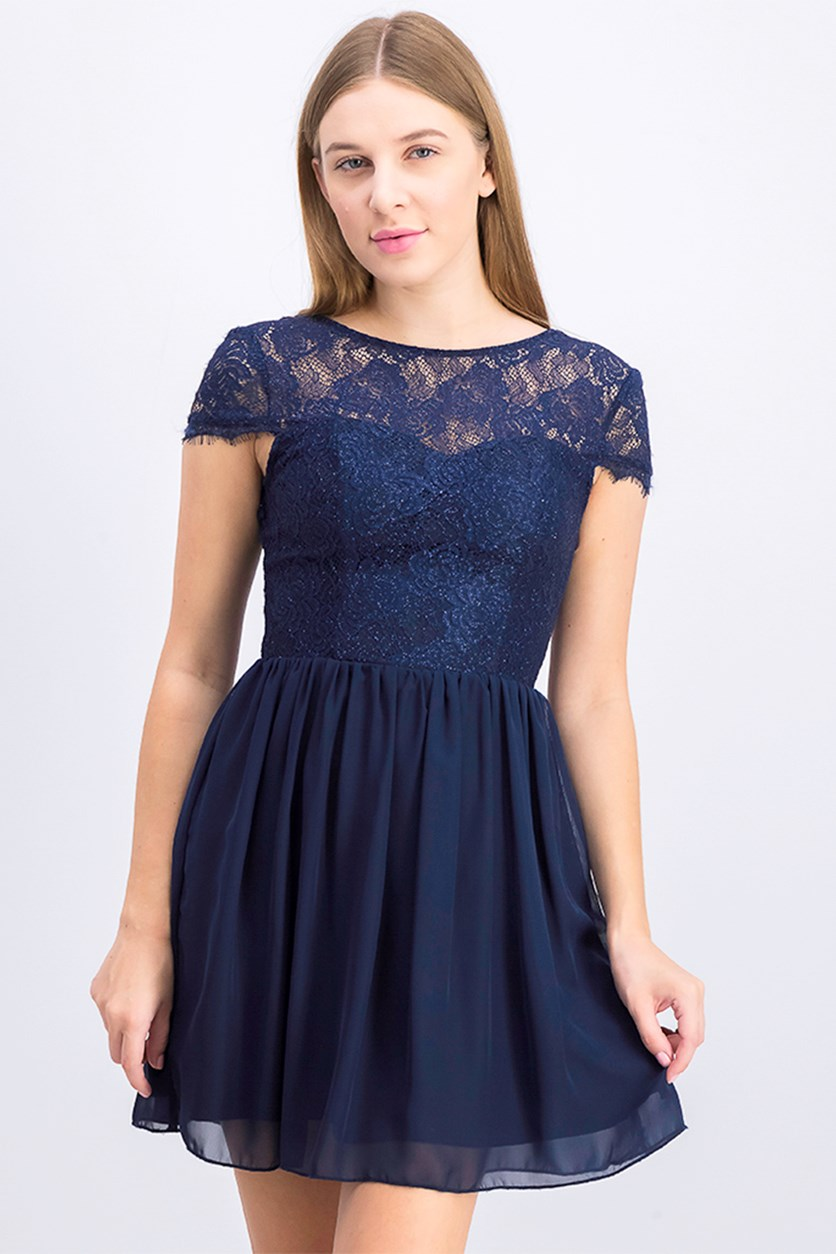 Women's Sparkle Lace-Contrast Dress, Navy