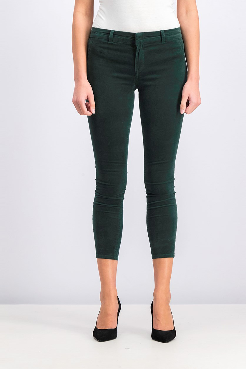 Women's Petite Skinny Trouser Pants, Green