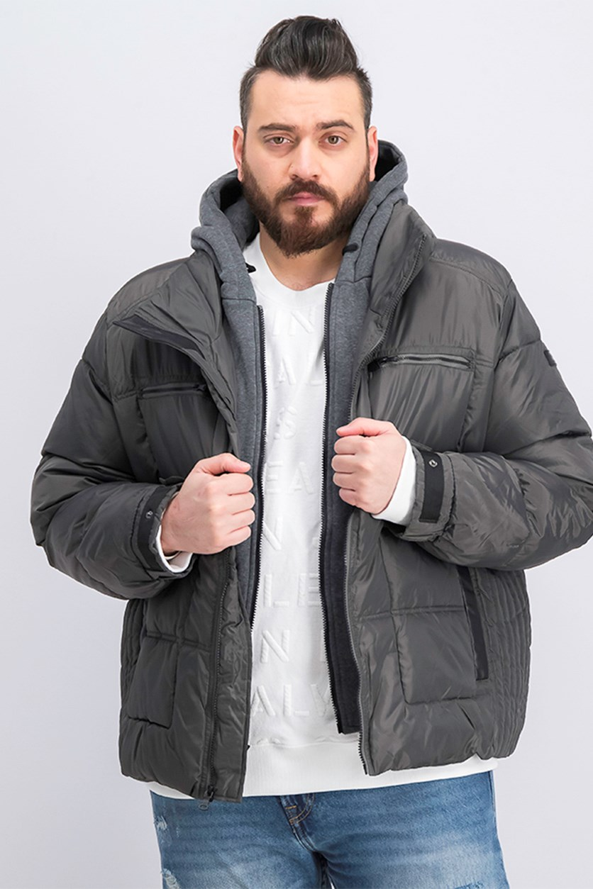 Men's Layered Puffer Jacket, Charcoal