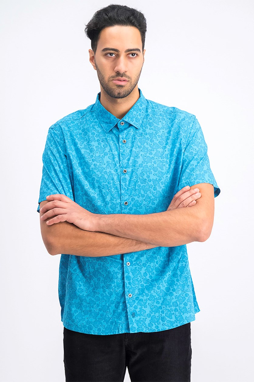 Men's Paisley Button-Up Shirt, Still Blue