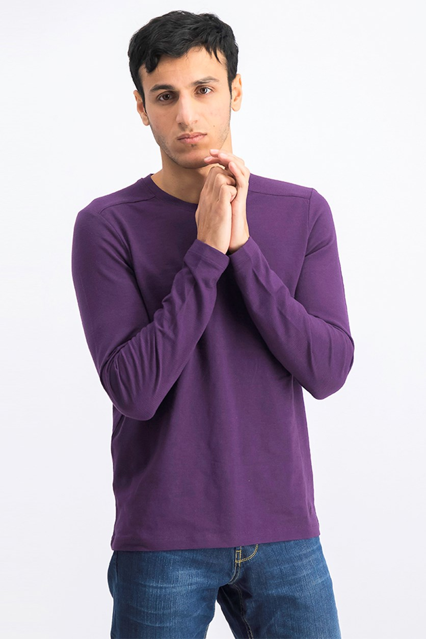 Men's Crewneck Pullover Sweaters, Purple