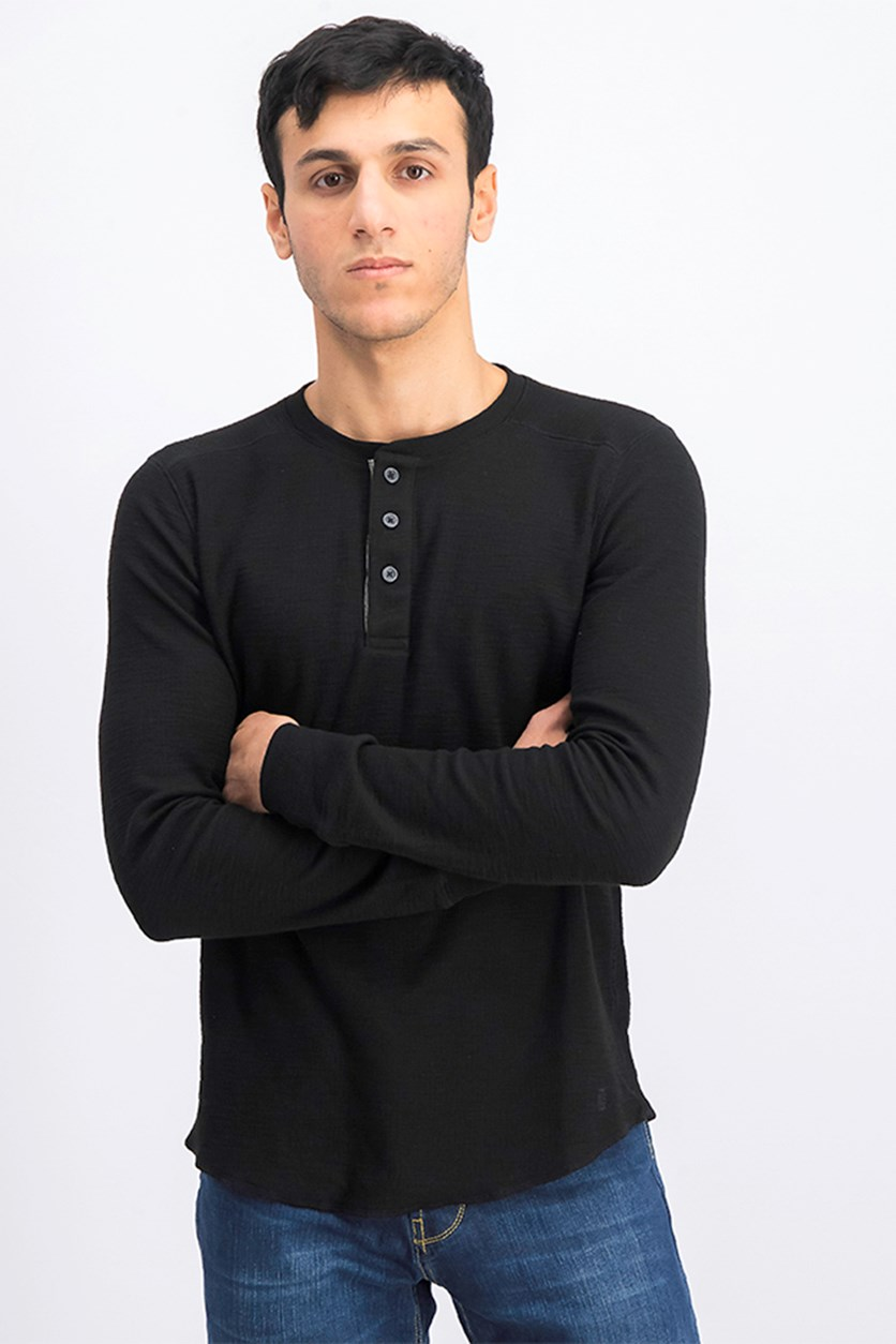 Men's Mini Rib Henley Shirt, Black
