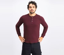 Men's Mini Rib Henley Shirt, Chili Garnet