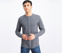 Men's Henley Ribbed T-Shirt, Iron Heather Grey