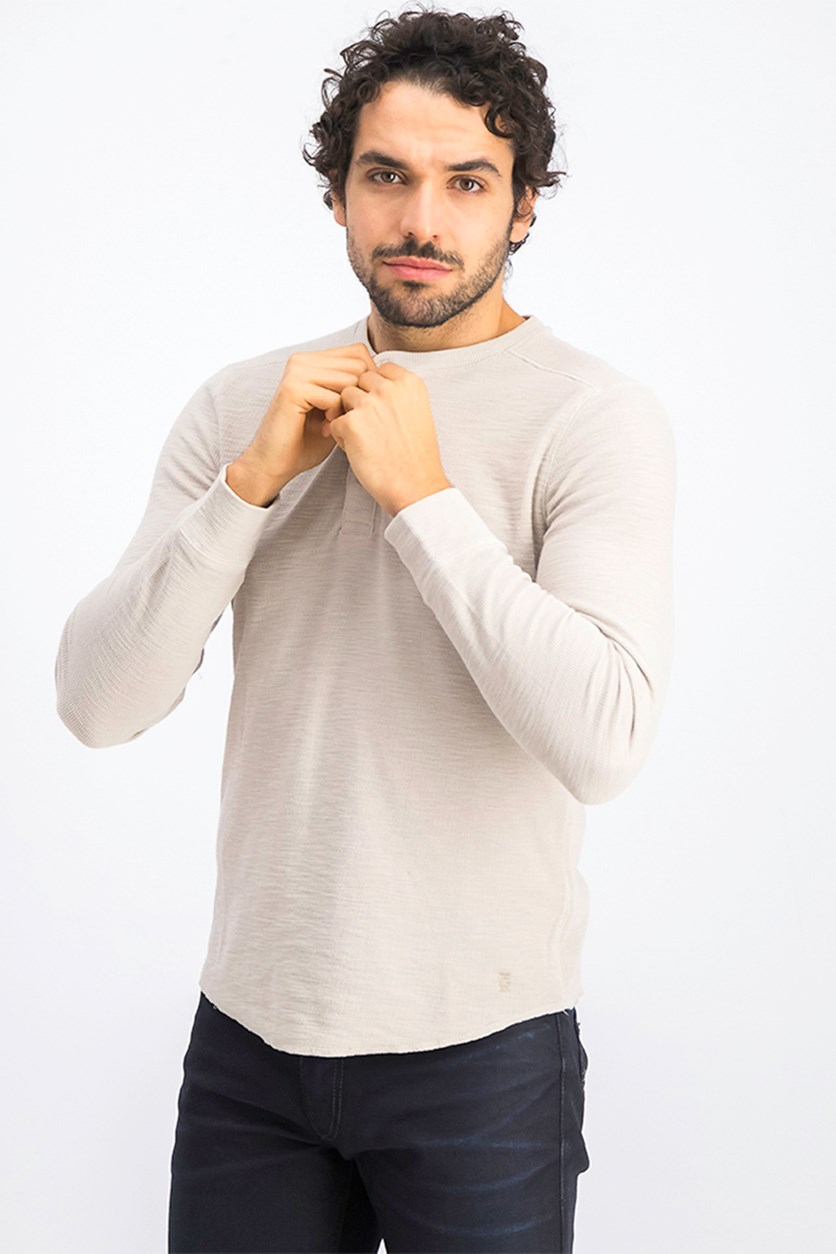Men's Mini Rib Henley Shirt, Wet Sand