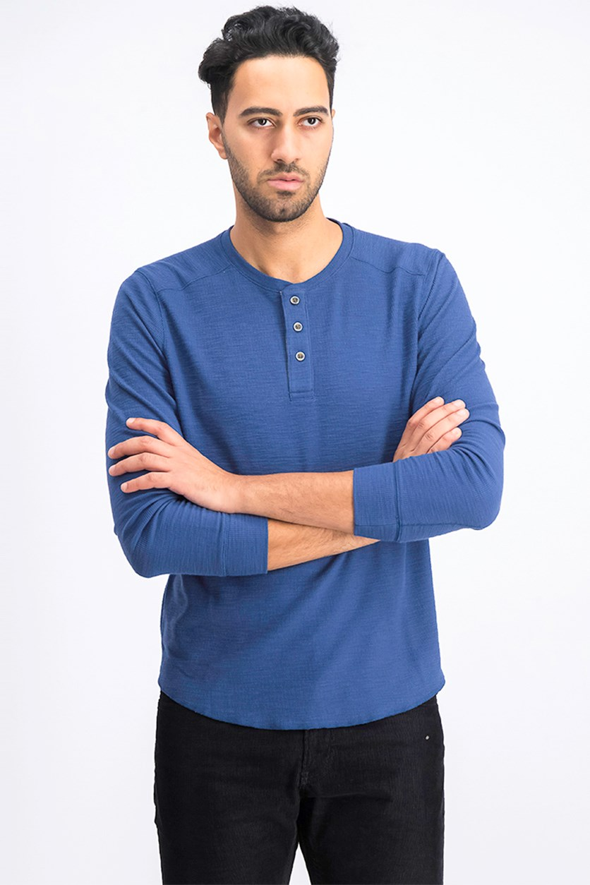 Men's Mini Rib Henley Shirt, Stormy Blue