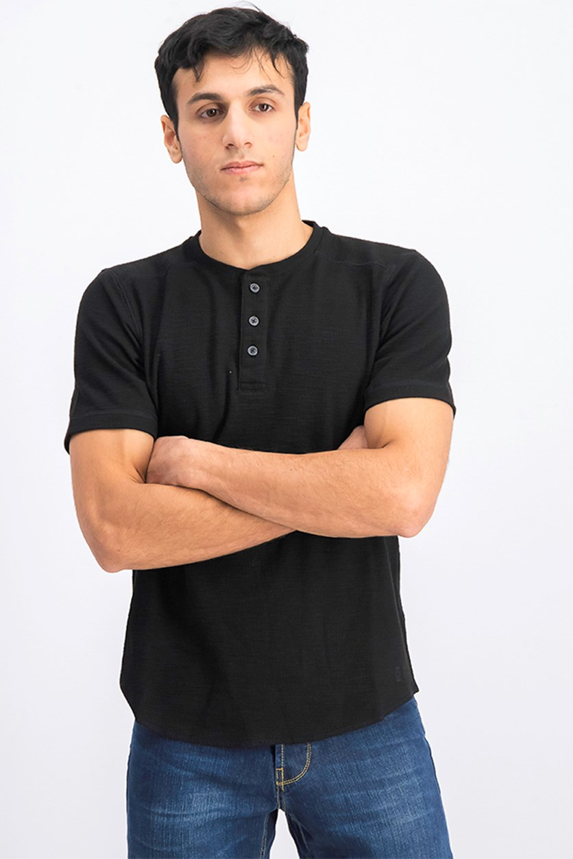 Men's Ribbed Button Front T-Shirt, Black