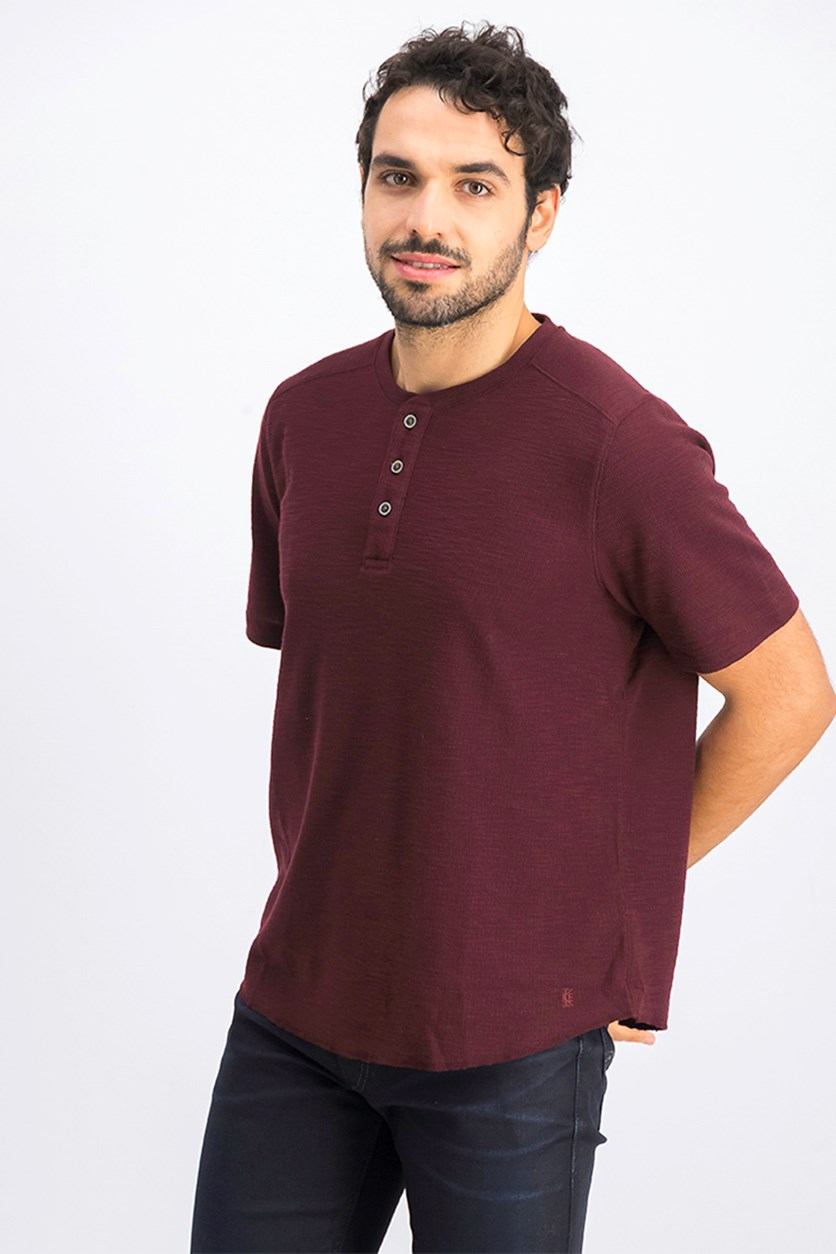 Men's Ribbed Button Front T-Shirt, Maroon