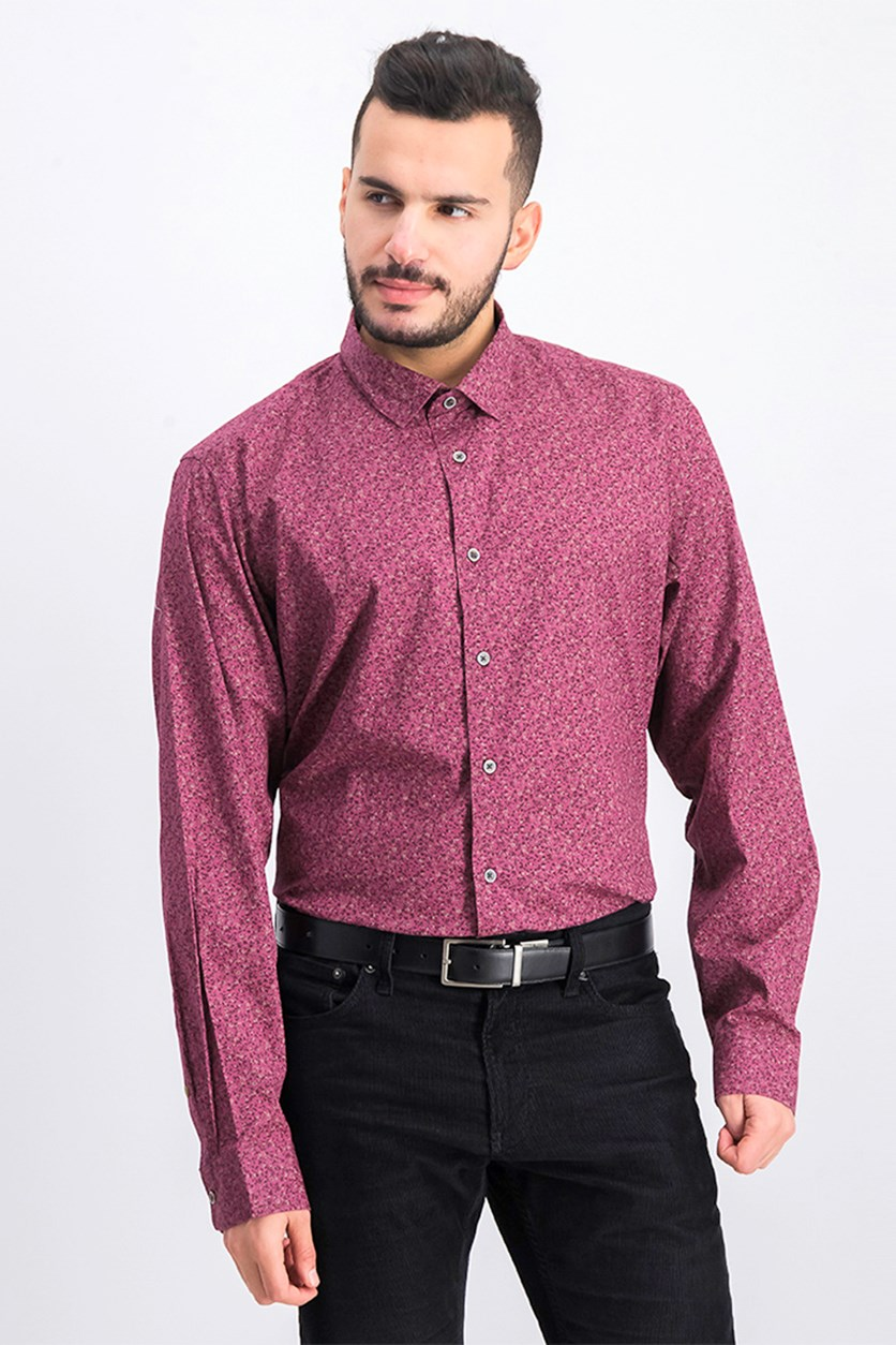 Men's Floral Long Sleeve Shirt, Chile Garnet