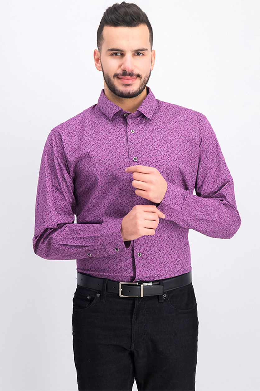 Men's Floral Long Sleeve Shirt, Purple