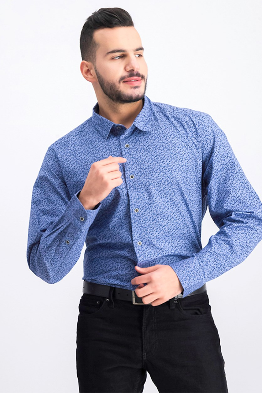 Men's Floral Long Sleeve Shirt, Iced Blue