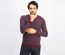 Men's Herringbone Sweater, Chile Garnet