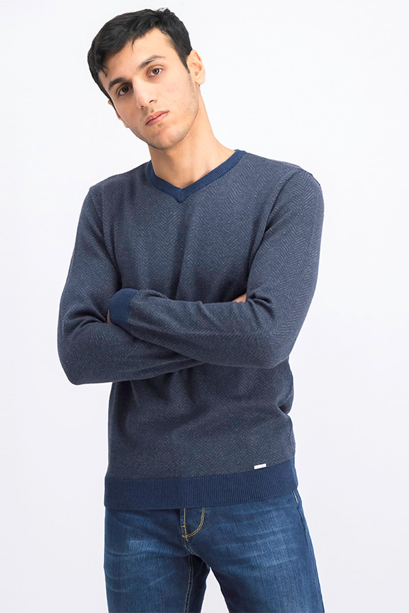 Men's Herringbone Sweater, Navy Heather
