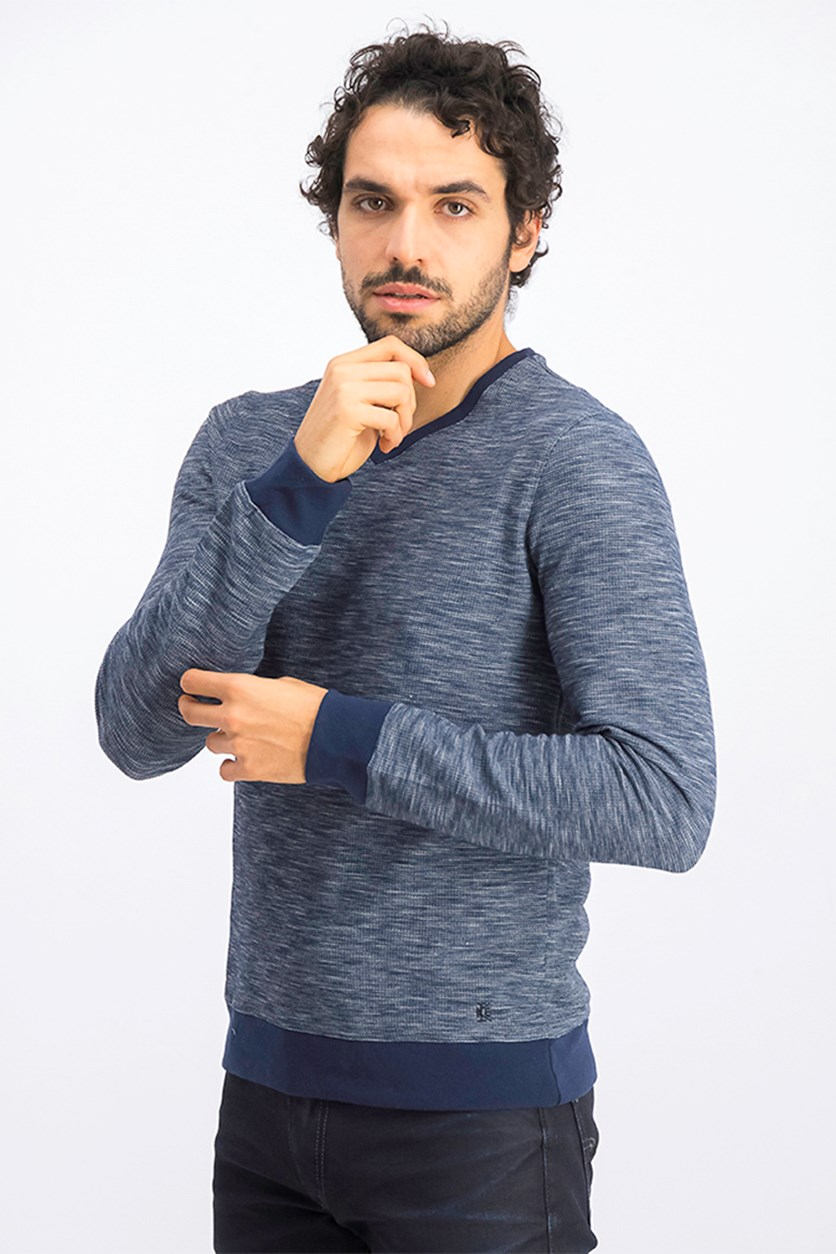 Men's Thermal V-Neck Sweater, Navy Night