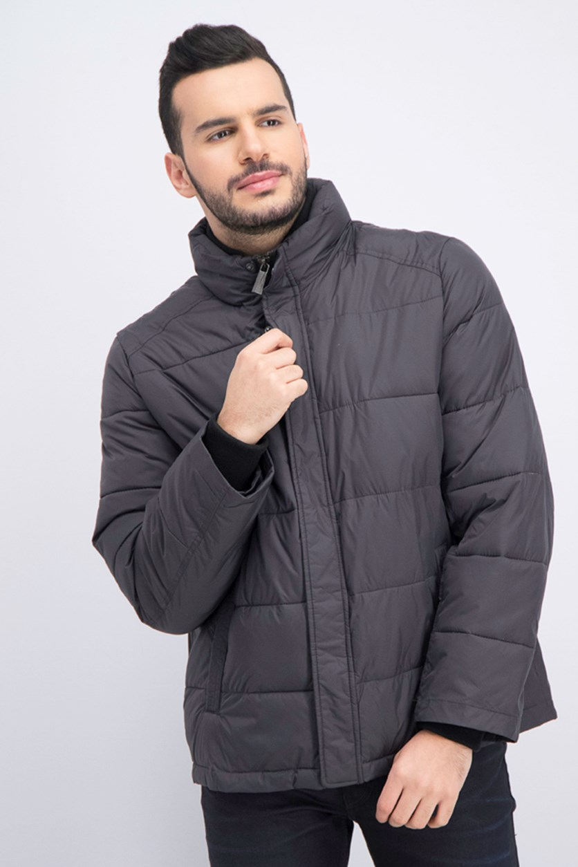 Men's Full Zip Puffer Jacket, Smoke