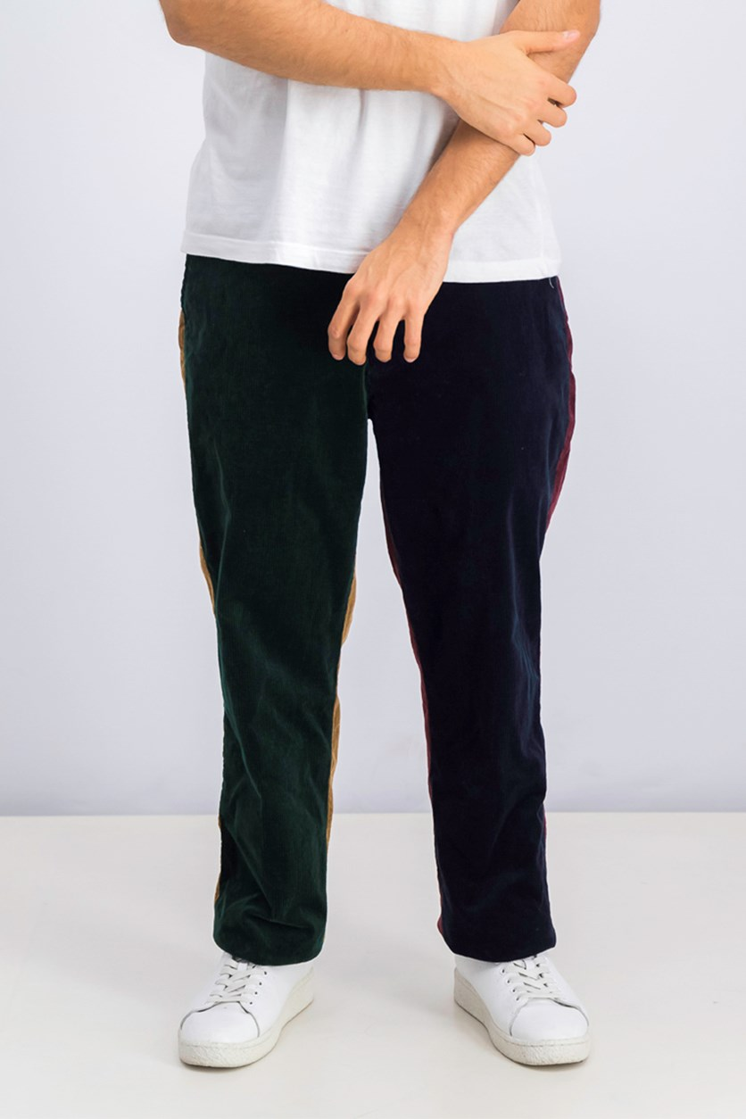 Men's Colorblocked Corduroy Classic Fit Stretch Pants, Navy/Green