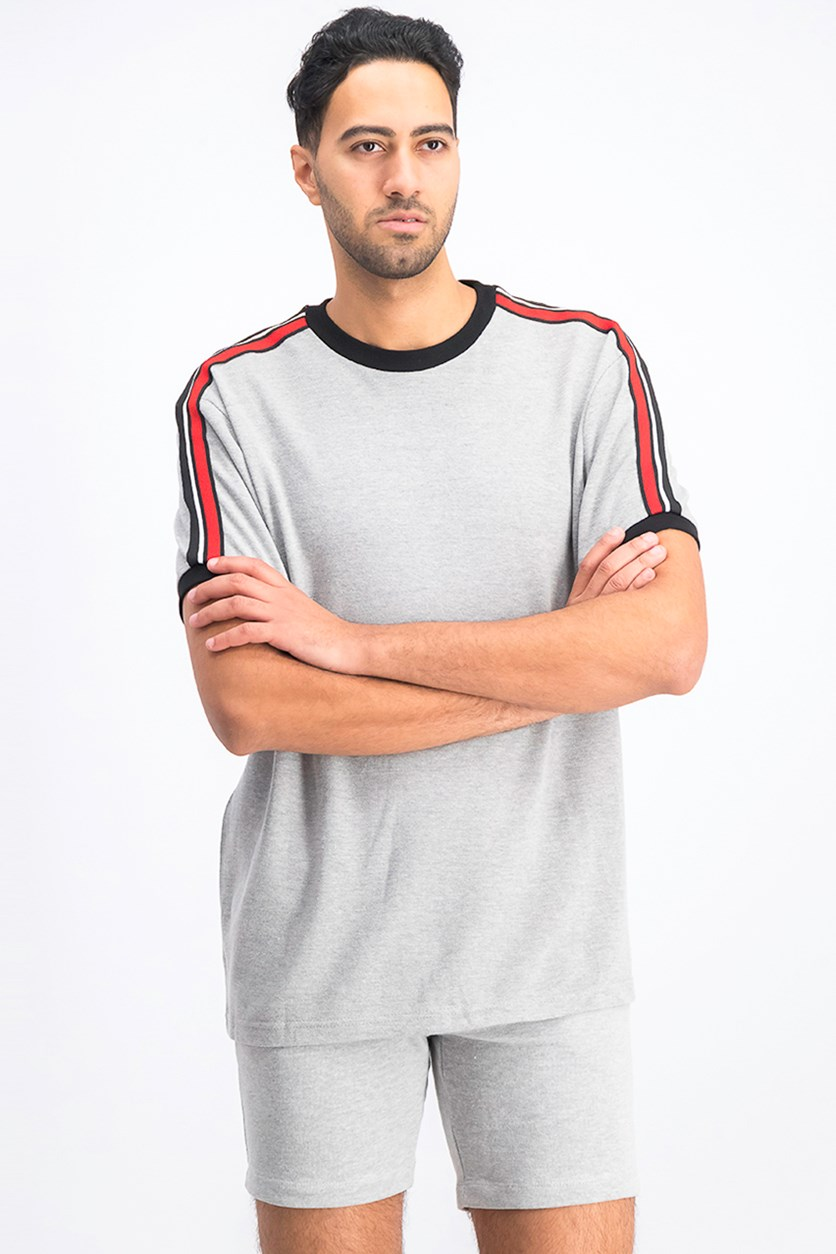 Men's T-shirt With Side Stripes, Heather Grey