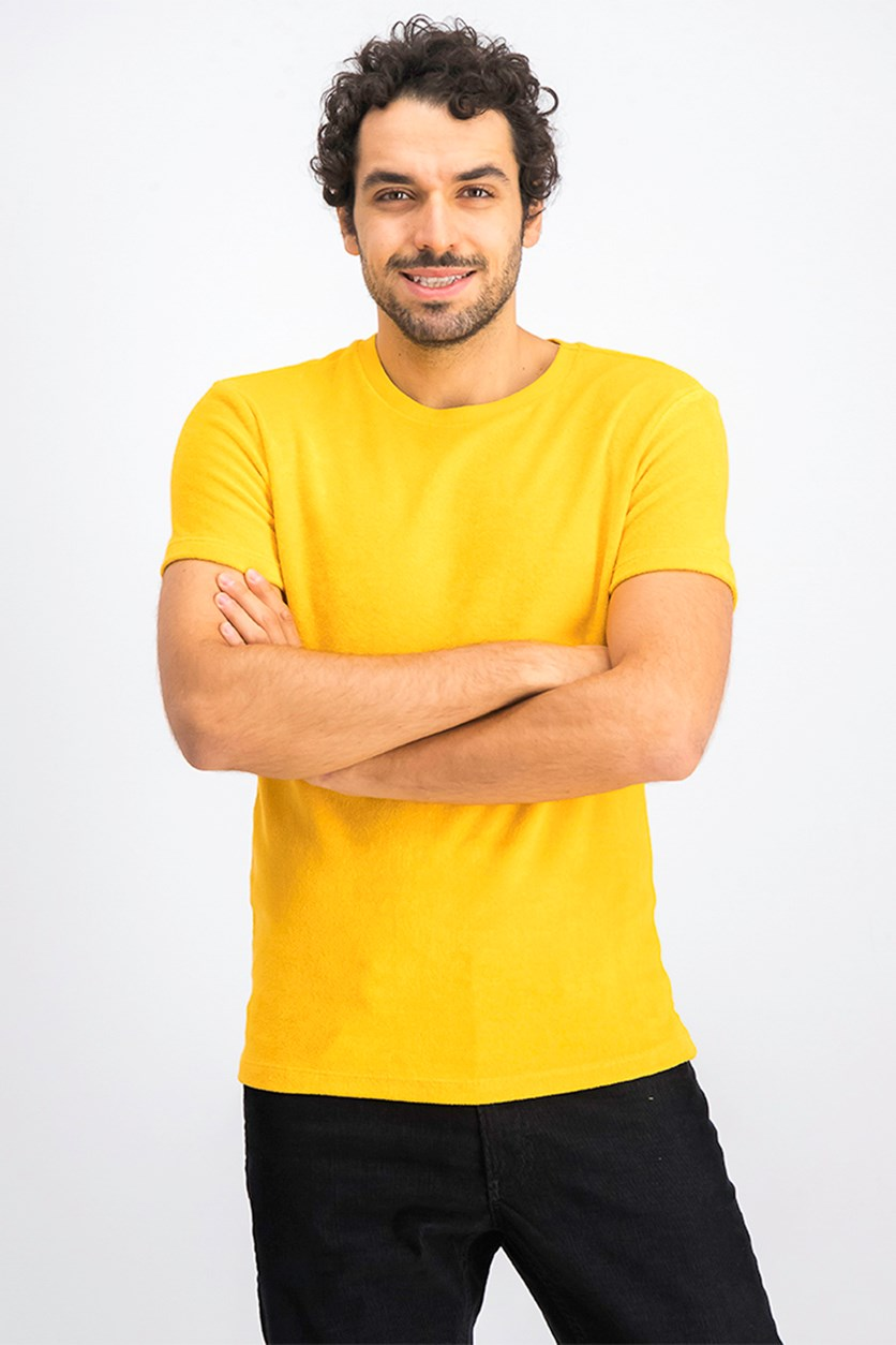 Men's Textured T-Shirt, Yellow/Gold
