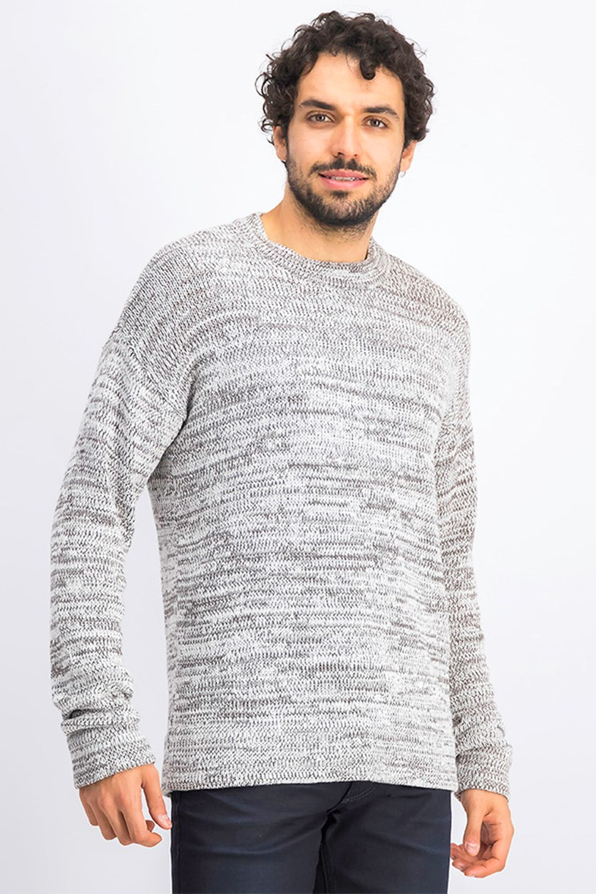 Men's Knitted Crew Neck Sweater, White Combo