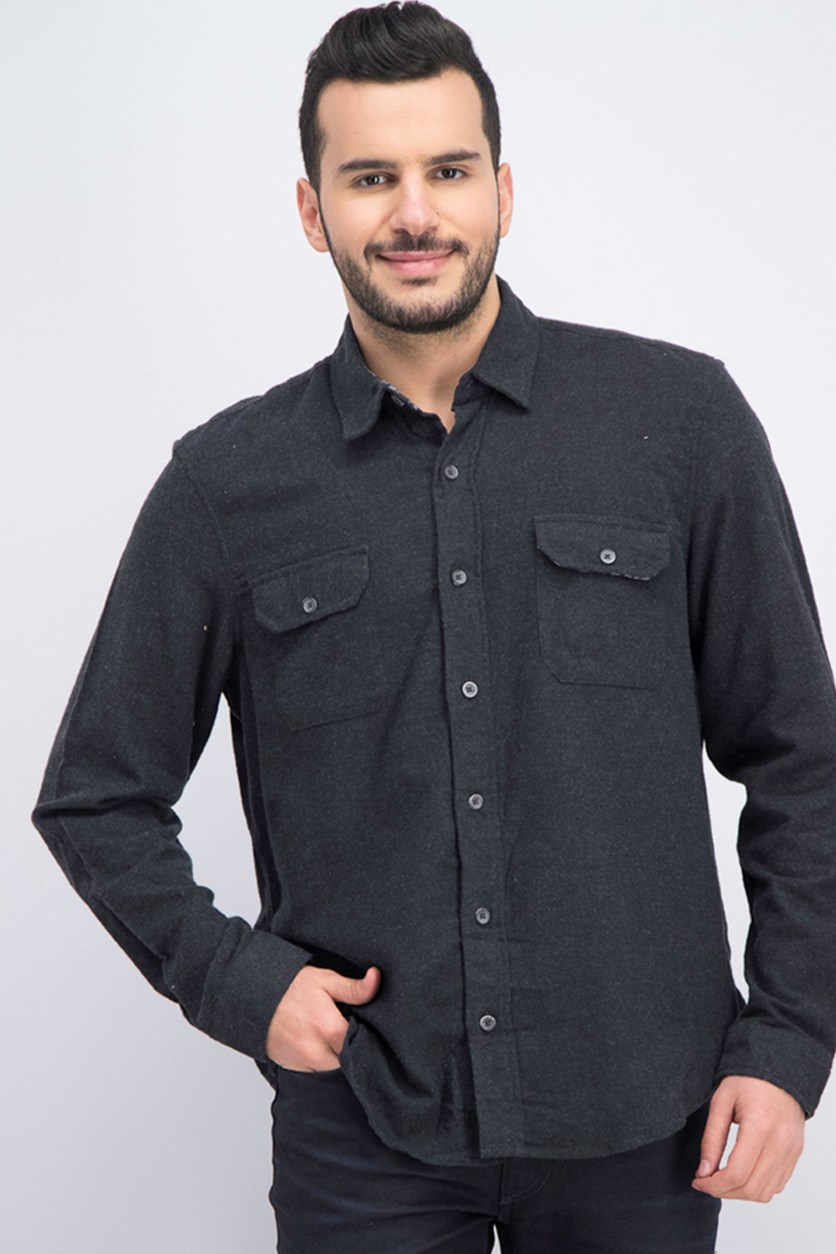 Men's Stretch Flannel Shirt, Charcoal