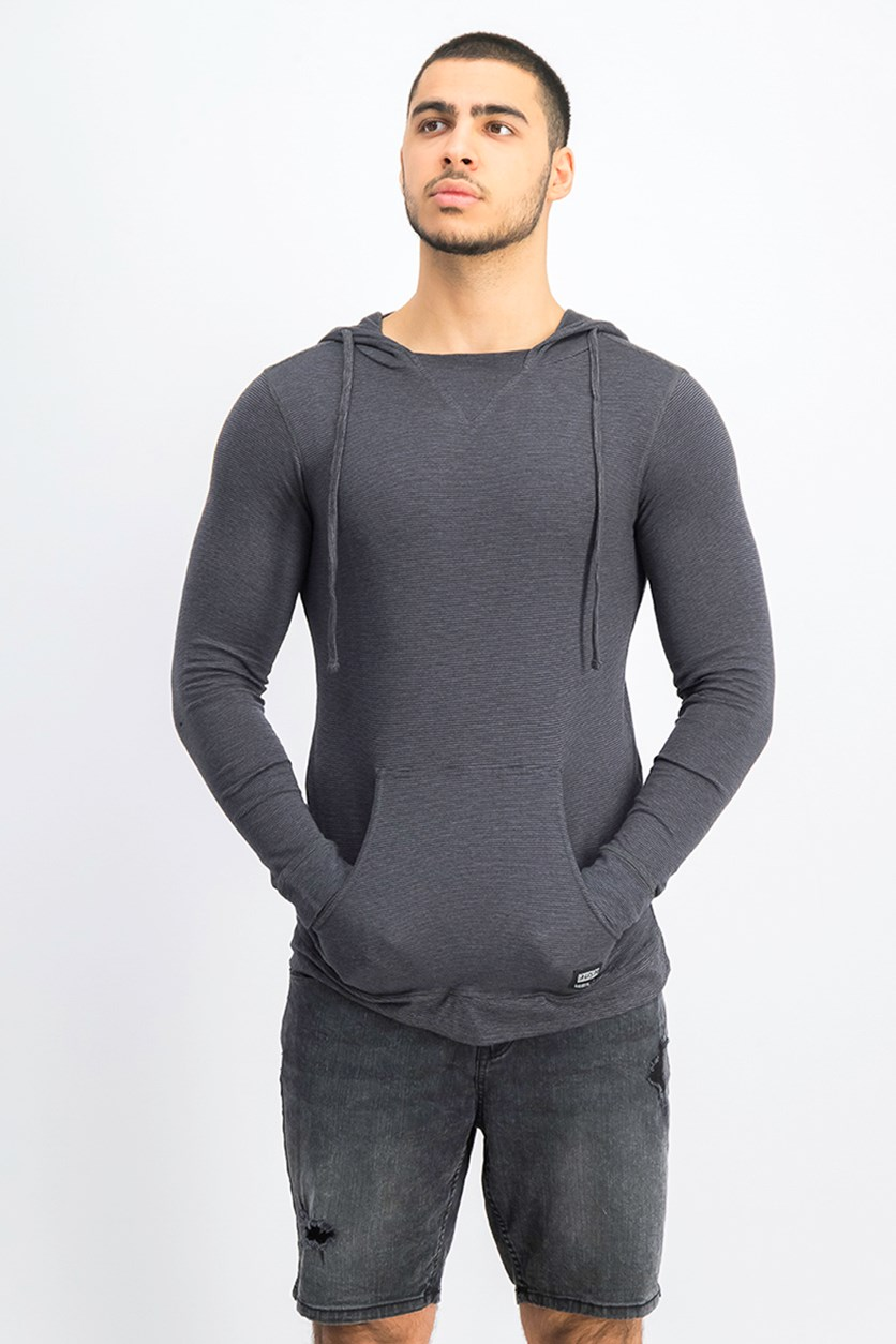 Mens Hooded Sweater, Charcoal Black