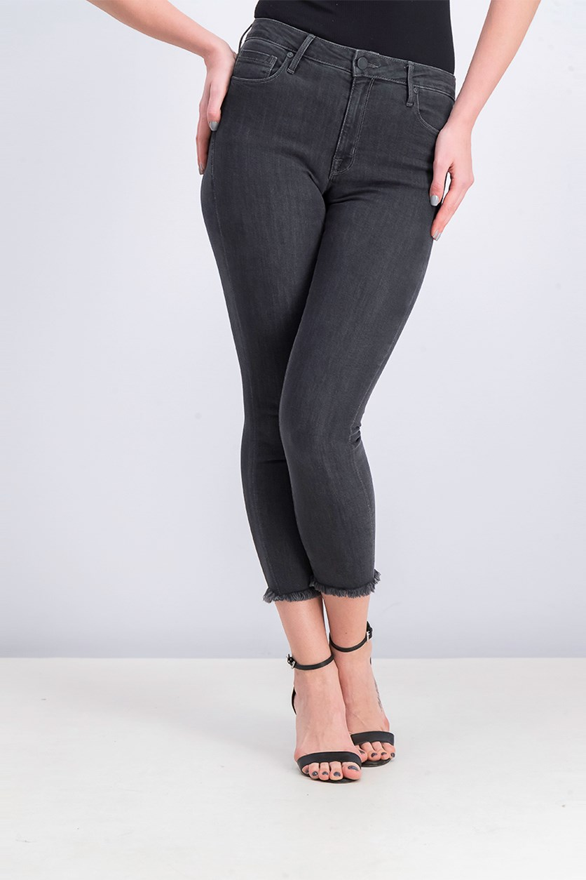 Women's Crop High Rise Skinny Jeans, Black Washed