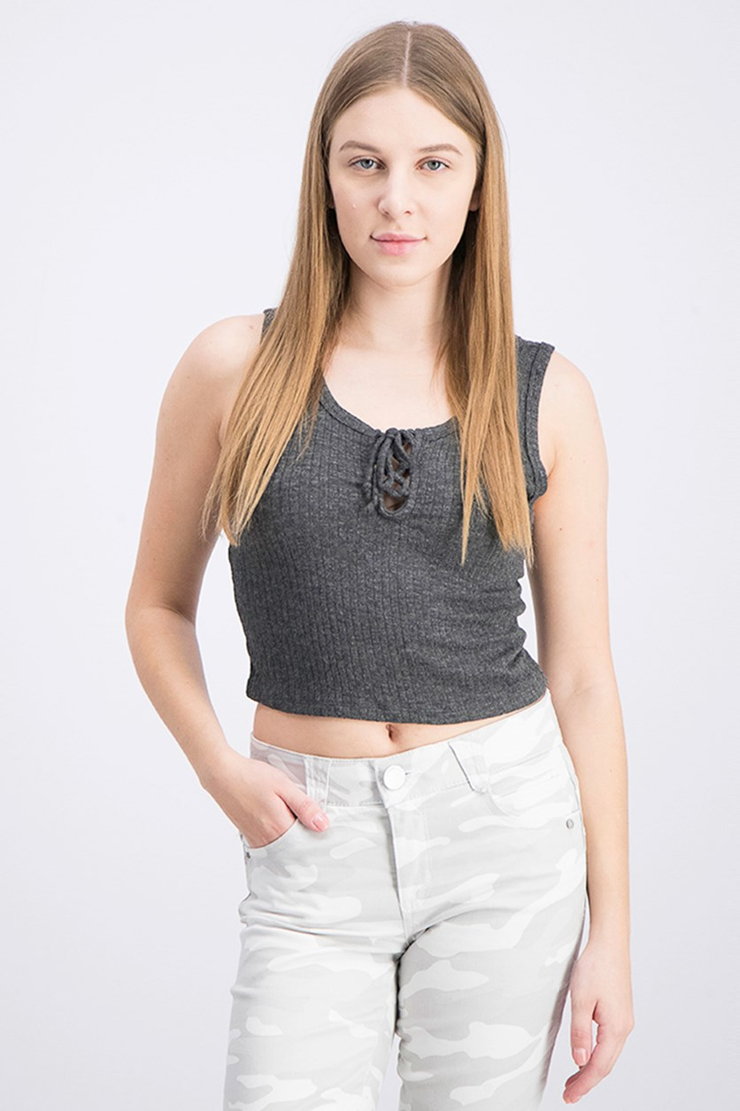 Women's Knit Tank Top, Charcoal