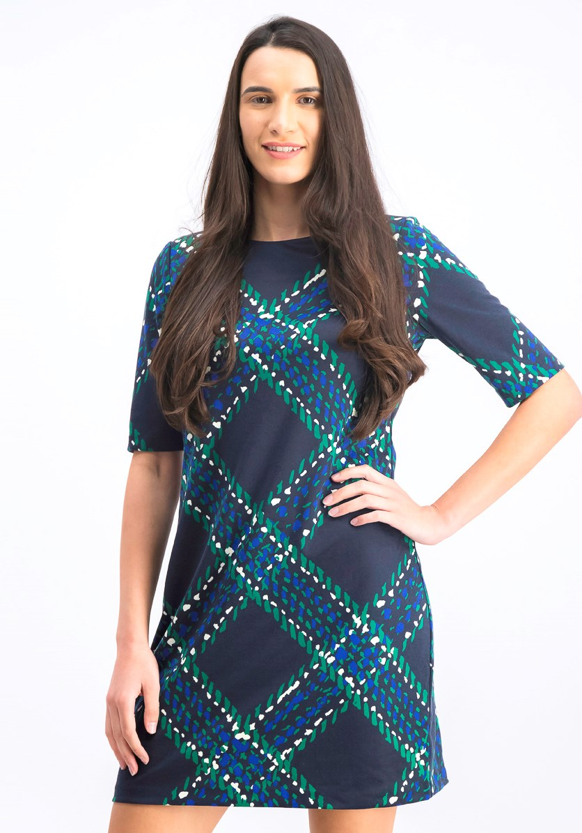 Women's Plaid Sheath Dress, Blue/Green