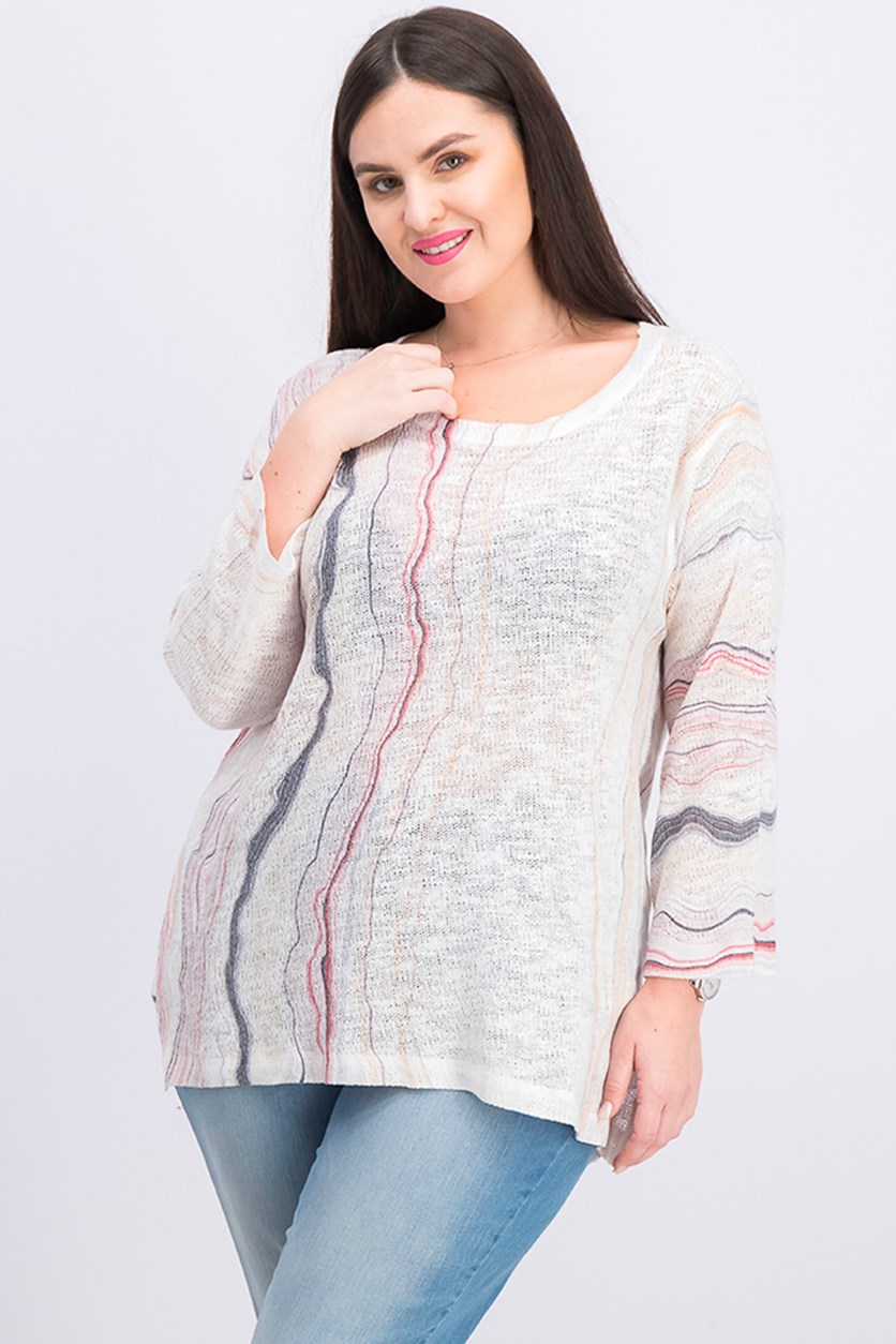 Women's Long Sleeve Sweater, Ivory/White