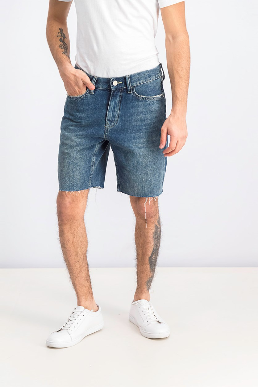 Men's Five Pocket Style Slim Fit Denim Short, Blue Wash