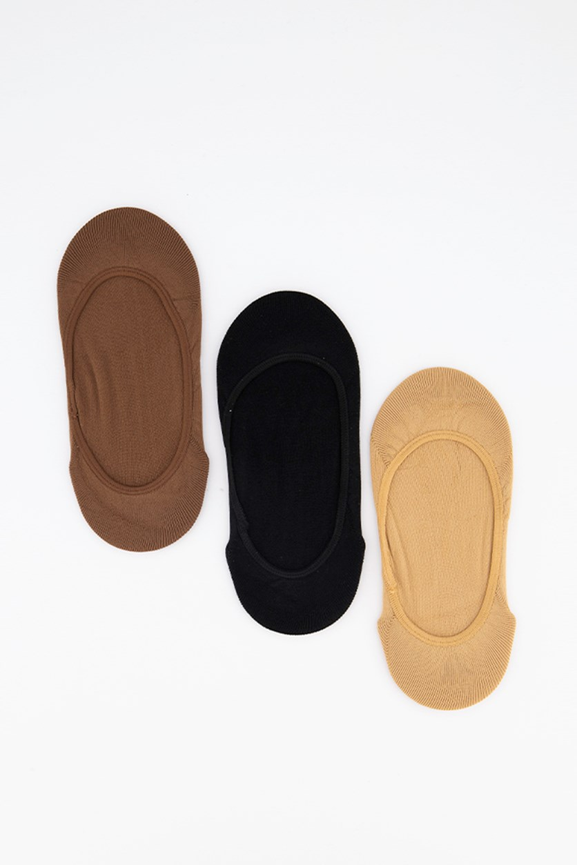 Women's 3 Pack Matte Microfiber Liner No-Show Sock, Tan/black/Brown