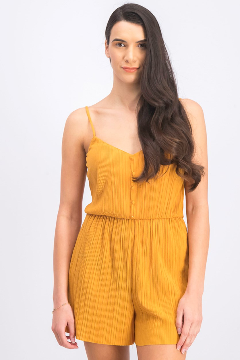 Women's Short Pleated Rompers, Mustard