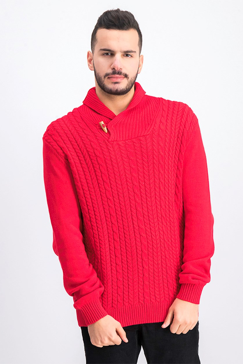 Men's Cable Knit Shawl Collar Sweater, Cherry