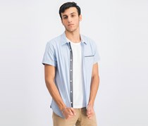 Men's Short Sleeve Printed Shirt, Dusty Blue