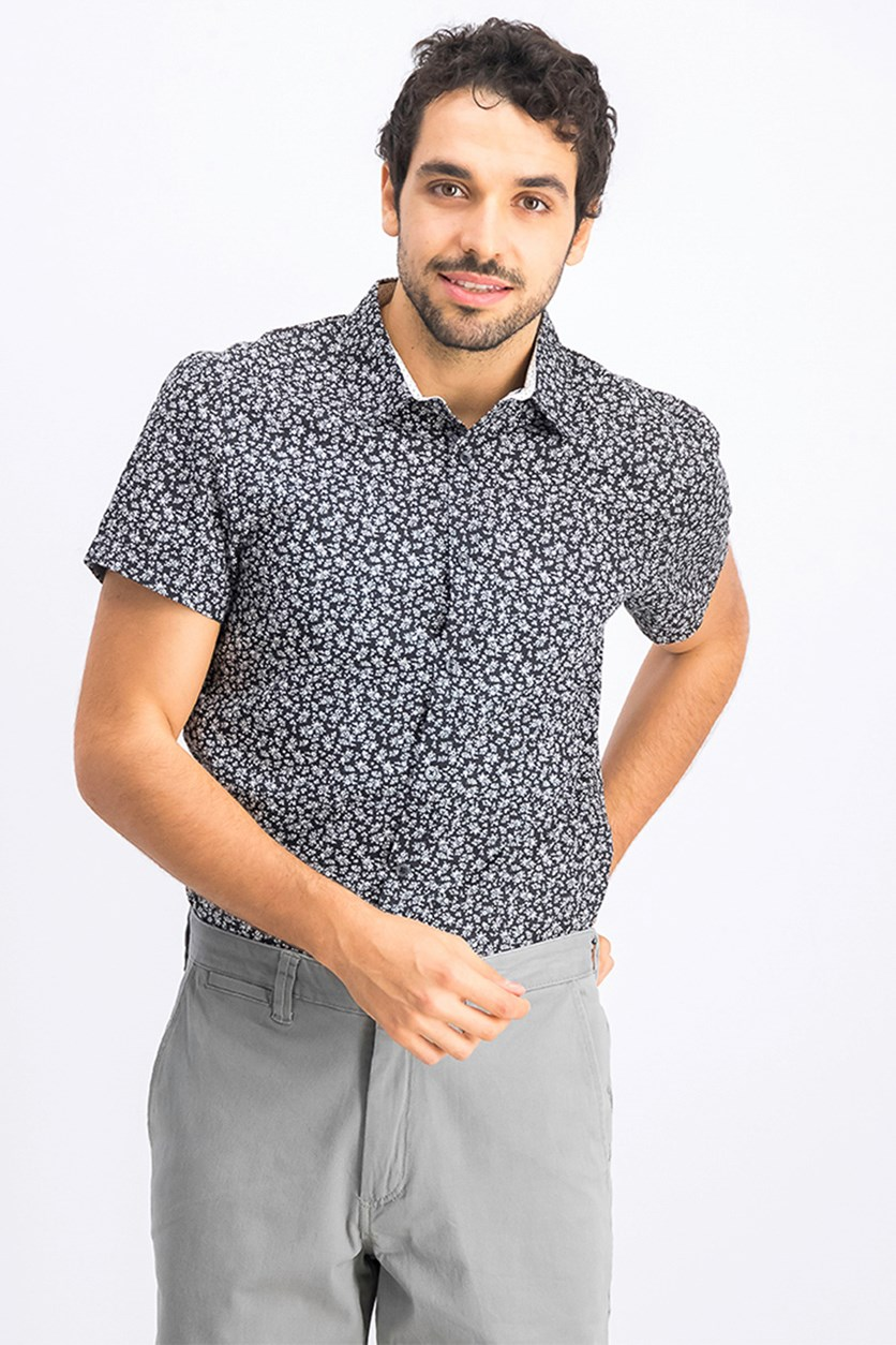 Men's Short Sleeve Floral Print Shirt, Black/White
