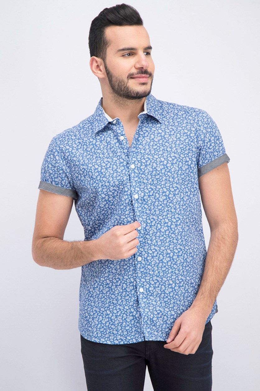 Men's Floral Print Shirt, City Blue