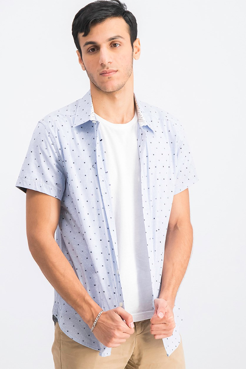 Men's Checkered With Clip Dobby Casual Shirt, City Blue