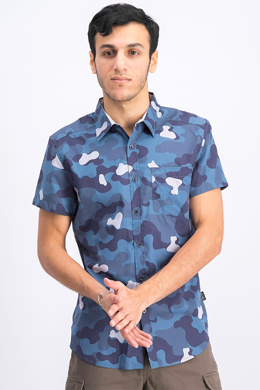 Men's Camouflage Casual Shirt, Tech Blue