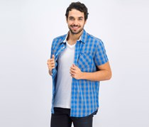 Men's Heather Checkered Shirt, Blue/Grey