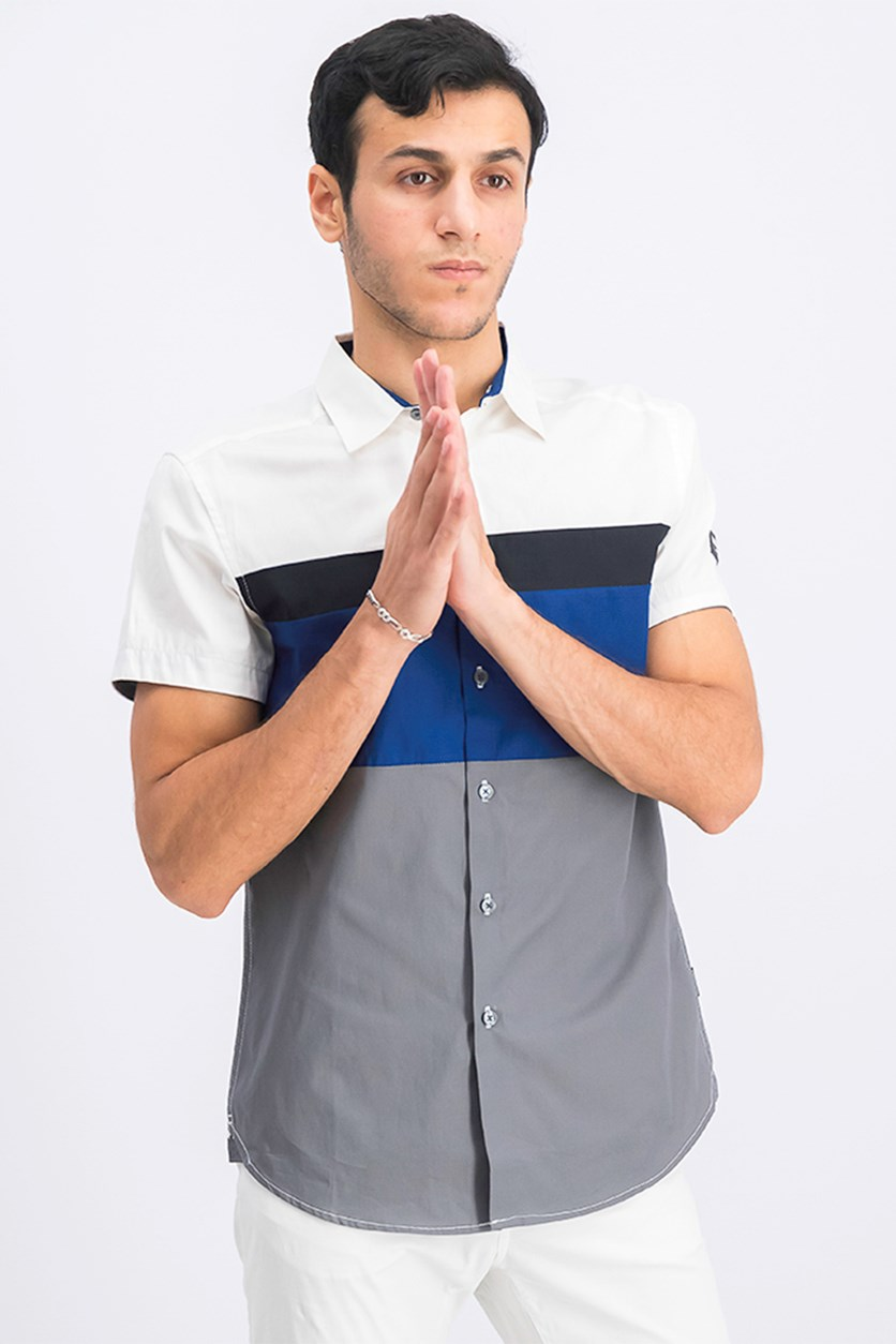 Men's Colorblock Casual Shirt, Tech Blue Combo