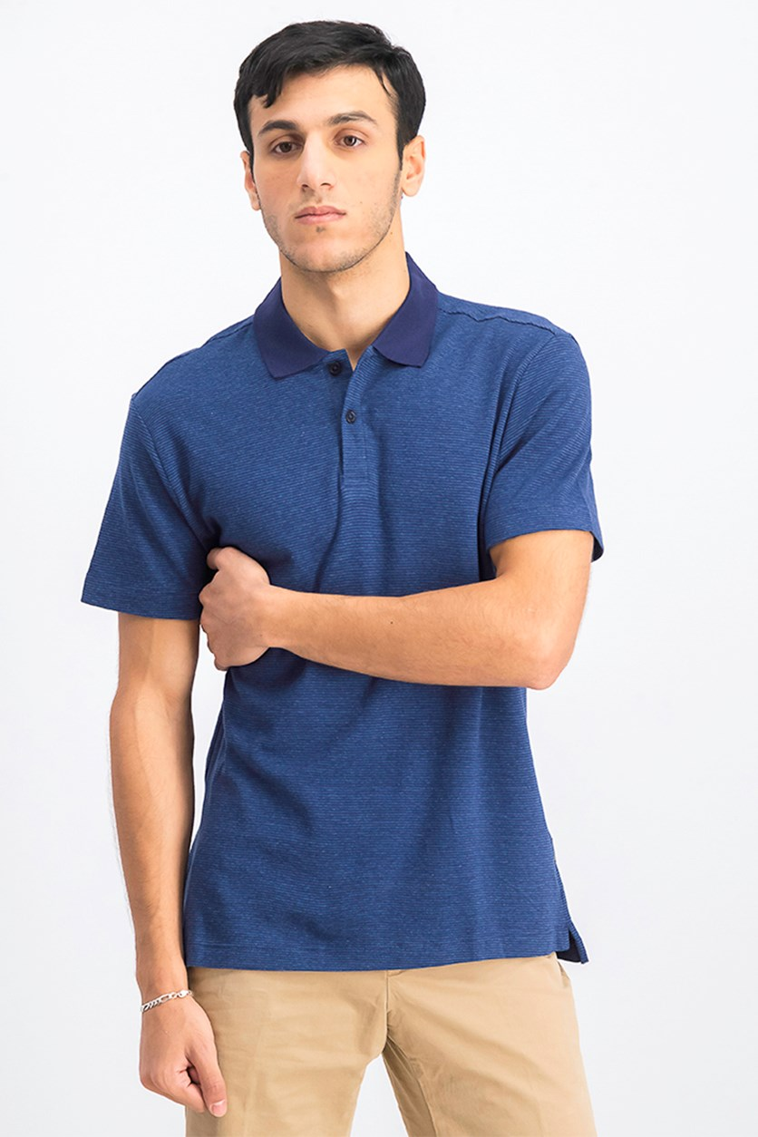 Men's Interlock Stripe Polo Shirts, Indigo