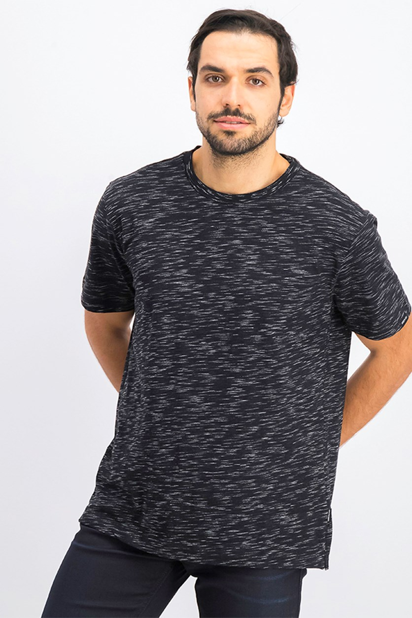 Men's Spaced Dye Crew Neck Shirt, Black