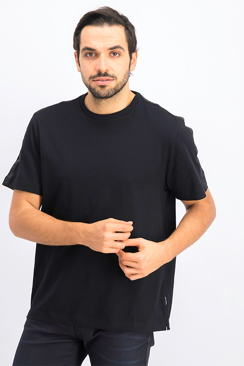 Men's Crew Neck With Logo Tape T-Shirt, Black