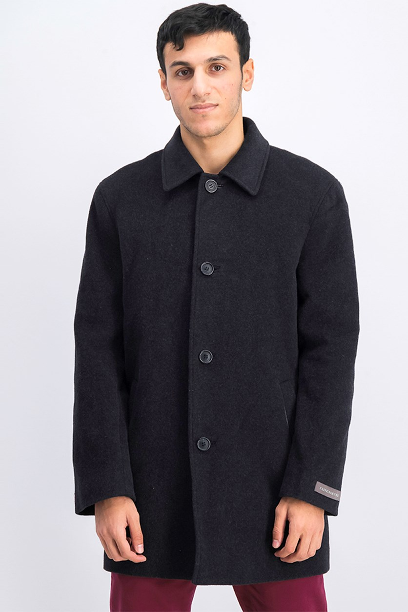 Men's Wool Cashmere Topper Coat, Charcoal